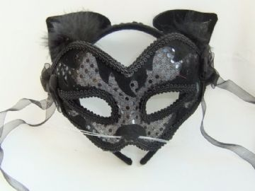 Cute Black Cat mask on a headband